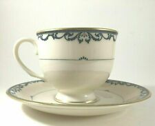 Lenox China LIBERTY CUP SAUCER SET USA Prisidential Coll Ivory Gold & Navy Blue