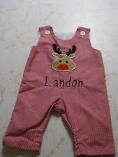 Lollywolly Doodle 3/6 Month Christmas Romper Landon Reindeer overalls