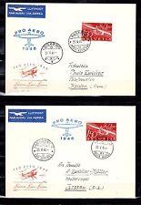 Schweiz  470 Pro Aero 1946,2 Luftpostbriefe, Lausanne-Locarno, Locarno-Lausanne