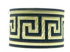 10.9yds  Jacquard Woven Ribbon/Trim Greek Key Black/Gold 2''