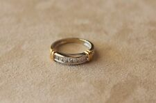 Channel Set Diamond Wedding Band / Ring - 14k. Two Tone Gold- approx. .21 cts.