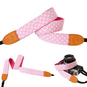Light Pink C heart print Fashion Camera Neck Shoulder Strap for Film SLR DSLR RF