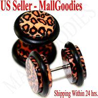 1253 Fake Cheater Illusion Plugs Leopard Cheetah Print Spots Parttern 00G 10mm