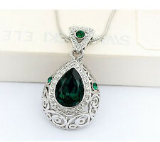 Elegant Emerald Green Angel Tear with Silver Base Crystal Necklaces N84