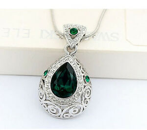 Elegant Emerald Green Angel Tear with Silver Base Crystal Necklaces N84