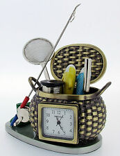 Novelty Miniature Fishing Basket Clock 1082