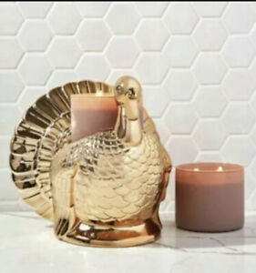 New 2021 Bath & Body Works GOLD TURKEY Candle Pedestal Holder - SOLD OUT