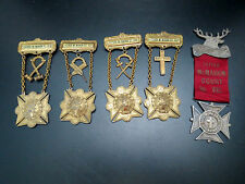 5 Catholic Order Foresters FATHER McMAHON COURT 932 Medals Pinback Ribbons 1883