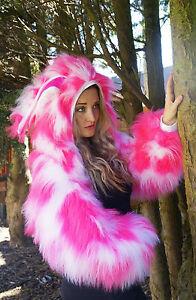 ANY COLOUR Funki-B Faux Fur fluffy shrug jacket hoody rave warmers neon clubwear