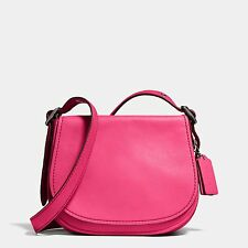 NWT Coach Women's Pink Saddle Bag 23 In Glovetanned Leather | Oxblood