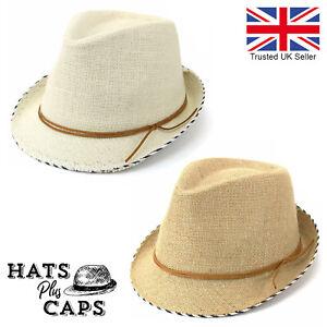 Linen Summer Trilby Cotton Sun Hat Vintage VTG Distressed Hessian Style Fedora