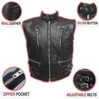 Men's Leather Vest Motorcycle Biker Black Front Zipper Pockets Side Belts NEW