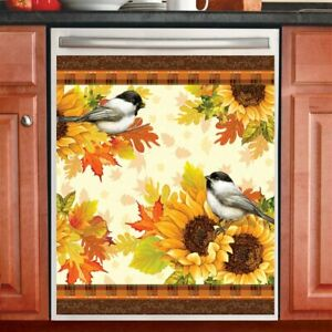 Fall Chickadee & Sunflowers Kitchen Dishwasher Cover Magnet