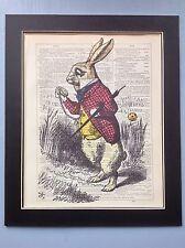 Alicia en el país de las maravillas Conejo Blanco Reloj Antiguo Arte Diccionario página de Idea de Regalo #a2