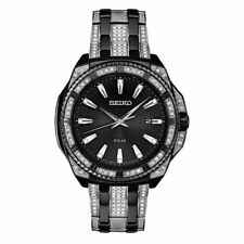 Mens Seiko Solar Swarovski Crystal Black Stainless Black Dial Date Watch SNE459