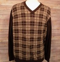 Tommy Hilfiger Men's Sweater XL Brown Check  Cotton V Neck Pullover Long Sleeve