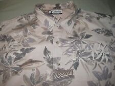 COLUMBIA SHORT SLEEVE SHIRT TAN TROPICAL FISH PRINT MEN'S LARGE NICE!