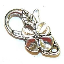 M7207L Antiqued Silver Large 25mm Flower Design Lobster Claw Focal Clasp 5pc