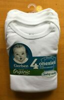 Gerber Baby 4-Pack Onesies Organic Cotton White - FREE SHIPPING!