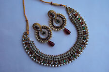Indian Polki Costume Bollywood Gold Tone Designer Jewelry Kundan Necklace  Set