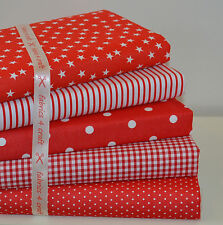 RED FABRIC BUNDLE 5 FAT QUARTERS POLY COTTON BUNTING CRAFT BUNDLE FQ
