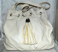 H&M White Faux Leather Drawstring Closure Large Tote with 2 Long Tassels