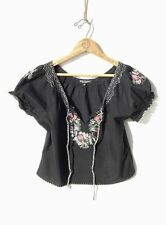 BETSEY JOHNSON~Black Cotton EMBROIDERED Mexican PEASANT Bohemian Top~M