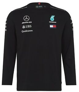 Mercedes-AMG Petronas Motorsport  Men's Team Long Sleeve T-Shirt Black BNWT