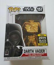 Funko Pop Star Wars 157 Darth Vader Gold Chrome 2019 Galactic Con Exclusive