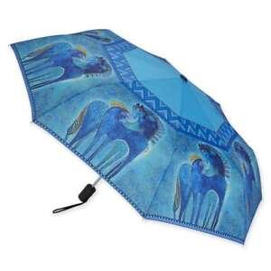 Laurel Burch Blue Indigo Horses Compact Umbrella Auto Open Auto Close New