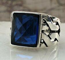 Blue Sapphire Gemstone Solid Turkish Ottoman 925 Sterling Silver Men Ring