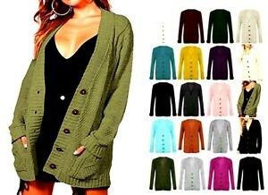Women's Cardigans Ladies Long Sleeve Button Up Top Chunky Aran Cable Knitted J35