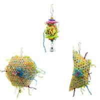 Parrot Bird Chew Toy Cage Hanging Strip Budgie Woven Foraging Grass Toys AU V3F9