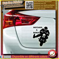 sticker autocollant Motard à bord salue V motard signe merci biker à bord trail