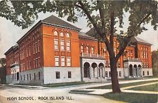 ROCK ISLAND ILLINOIS HIGH SCHOOL 21st & 6th AVE POSTCARD 1910 DESTROYED BY FIRE