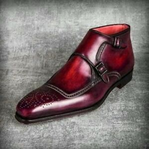 Burgundy Dual Monk Style Patina Ankle High Genuine Leather Brogues Toe Men Boots