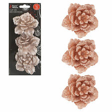 Set of 3 Glitter Rose Flowers with Clip Christmas Tree Decorations - rose Gold