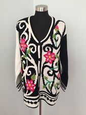 NEW STORYBOOK KNITS Cardigan Sweater Rare Pink Flower Black White Cotton Blend L