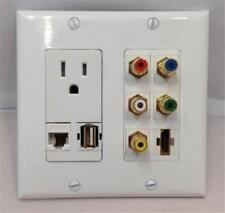 110V POWER OUTLET + HDMI + USB + CAT5E + 5 RCA - CUSTOM WHITE DOUBLE WALL PLATE