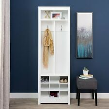 Prepac Space-Saving Entryway Storage Organizer with Shoe Rack in White finish