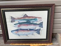 Klatt Rainbow/Rainbow Trout 1993 Fish Offset Lithograph Framed, Signed, & Matted
