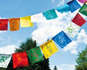 Tibetische Gebetsfahnen 8 Glückssymbole  aus Baumwolle 0,8 m 10 bunte Fahnen