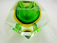 Murano faceted green & amber sommerso art glass block bowl HUGE SIZE