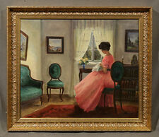 20th Century Signed Oil Painting of Beautiful Woman Seated in Pink Dress
