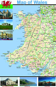 Wales Map Educational Poster Wall Chart - Cymru - A2 A3 A4 Laminated Available