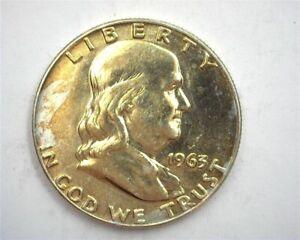 1963-D FRANKLIN SILVER 50 CENTS GEM+ UNCIRCULATED IMPRESSIVE TONING!!