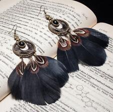 Stunning handmade long black & pheasant feather dreamcatcher dangle earrings UK