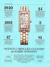 PUBLICITE ADVERTISING 025  2014  HARRY WINSTON collection montre