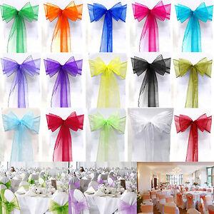 10/20/50/100 Organza Chair Cover Sash Bow Wedding Ball Reception Banquet Decor