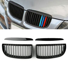 Front Kidney Grill Grilles L&R Gloss Black For BMW E90 3 Series Sedan 2005-2008